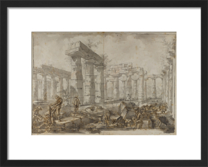 Paestum, Italy, View of the interior of the Basilica from the West by Giovanni Battista Piranesi