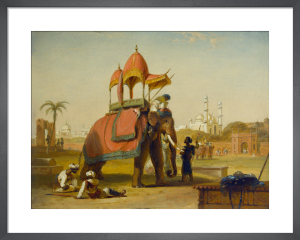 A Caparisoned Elephant - Scene near Delhi (A Scene in the East Indies) by William Daniell