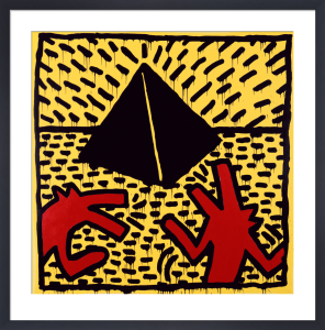 Untitled, 1982 (red dogs with pyramid) by Keith Haring