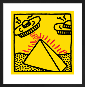 Untitled, 1984 (pyramid with UFOs) by Keith Haring