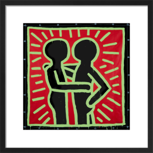 Untitled, 1982 (couple in black, red and green) by Keith Haring