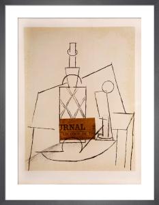 After. Papiers Collés Series, Bouteille de Rhum Paillée, Verre et by Pablo Picasso