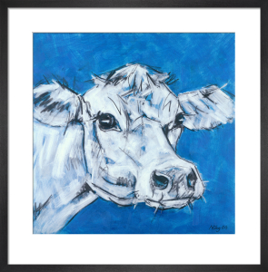 Cow on Blue 2 by Nicola King