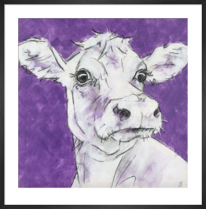 Cow on Purple 3 by Nicola King