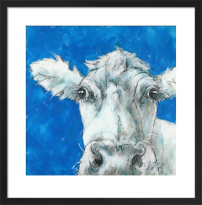 Cow on Blue 3 by Nicola King
