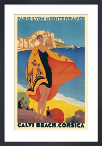 Calvi Beach, Corsica, circa 1932 by Roger Broders