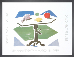Apple, Grapes, Lemon on a Table, 1989 by David Hockney