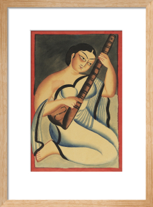 A courtesan playing the sitar, c.1900 by Nibaran Chandra Ghosh