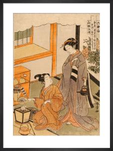 Young lovers preparing tea by Katsukawa Shunsho