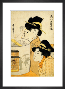 Twisting the shadow lantern by Kitagawa Utamaro