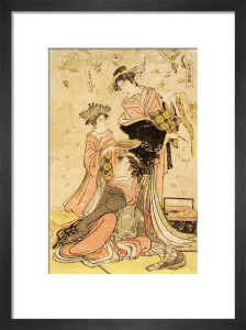 Women writing poems on flowers by Katsukawa Shuncho