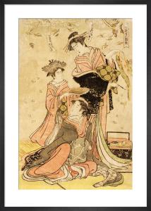 Women writing poems on flowers by Katsukawa Shunsho