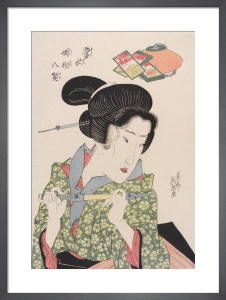 Geisha smoking a pipe by Keisai Eisen