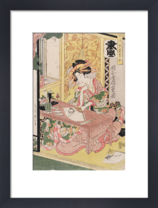 Yoshiwara woman painting a fan by Kikukawa Eizan