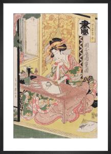 Yoshiwara woman painting a fan by Kikukawa Eizan