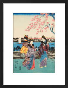 Women travelling on the beach of Futami by Utagawa Hiroshige I