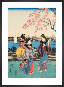Women travelling on the beach of Futami by Utagawa Hiroshige