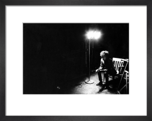 Bob Dylan in the dark, The Factory NYC, 1965 by Nat Finkelstein