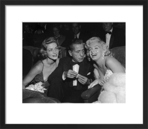 Marilyn Monroe with Humphrey Bogart and Lauren Bacall at Ciro's Nightclub by Hollywood Photo Archive