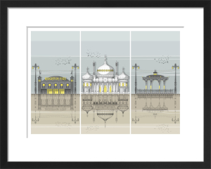 Brighton Landmarks Triptych by Linescapes