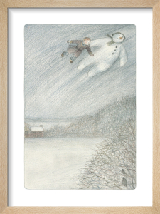 The Boy and The Snowman can be seen flying up into the night sky by Raymond Briggs