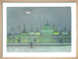 The Boy and The Snowman flying above a green-tinged Brighton Pavilion by Raymond Briggs