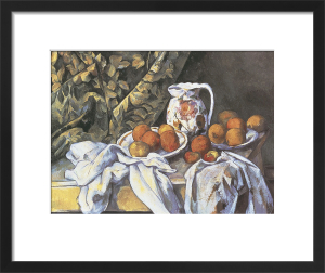 Still Life with Curtain and Fruit by Paul Cezanne