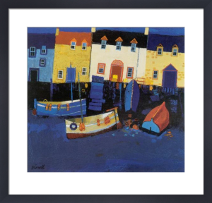 Boats and Tarry Wall by George Birrell