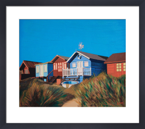 Beach huts and boat by Linda Monk
