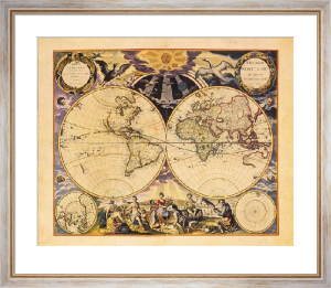 New World Map, 1676 by Goos