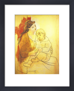 Mother and Child Before Curtain by Pablo Picasso