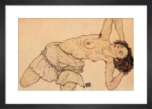 Kneeling Half-undressed Woman, Bending to the Left by Egon Schiele