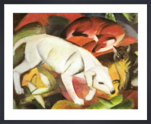 A Dog, a Fox and a Cat by Franz Marc