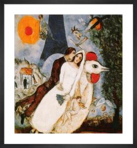 Les Fiancés de la Tour Eiffel by Marc Chagall