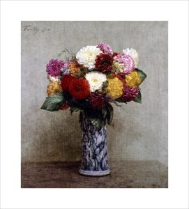 Dahlias in a Chinese Vase by Ignace-Henri-Théodore Fantin-Latour