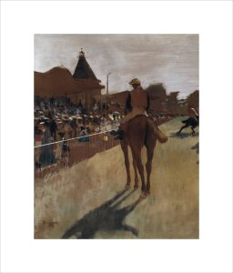 Racehorses at the grandstand (detail) by Edgar Degas