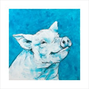 Pig on Blue by Nicola King