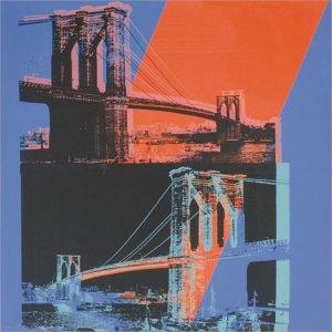 Brooklyn Bridge, 1983 (pink, red, blue) by Andy Warhol