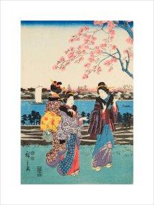 Women travelling on the beach of Futami by Utagawa Hiroshige I